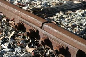 Rusty rails with fishplate, Kojonup